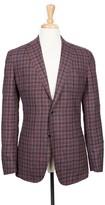 Boga Muted Purple and Navy Plaid Notch Lapel Modern Fit Wool Blazer