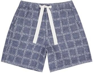 J.W.Anderson Navy logo-print linen shorts