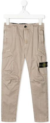 Stone Island Junior logo-patch slim-fit cargo trousers