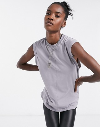 ASOS DESIGN oversized vest with roll sleeve and seam detail in elephant grey