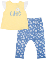 Cutie Pie Baby Yellow & Blue 'Cutie' Top & Floral Pants