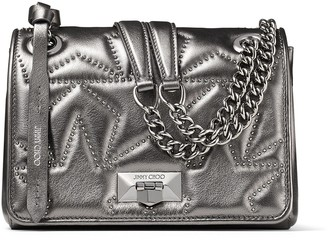Jimmy Choo HELIA SHOULDER BAG/S Dark Anthracite Matelasse Nappa Leather with Metallic Star-Studded Shoulder Bag