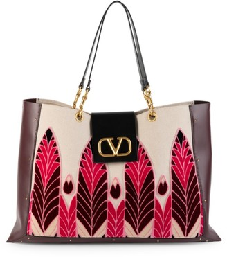 Valentino City Safari Embroidered Canvas & Leather Tote