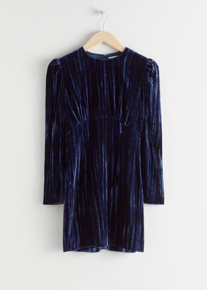 And other stories Crushed Velvet Puff Sleeve Mini Dress