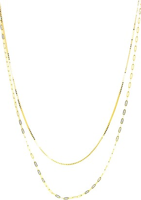 Argentovivo 18K Yellow Gold Plated Double Layer Bean Chain Necklace