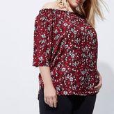 River Island Womens Plus red floral print shirred bardot shirt