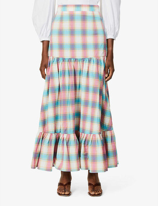 Paper London Maria checked high-waist stretch-cotton midi skirt