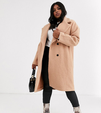 Glamorous Curve double breasted wool coat with tie waist