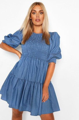 boohoo Plus Chambray Shirred Smock Dress