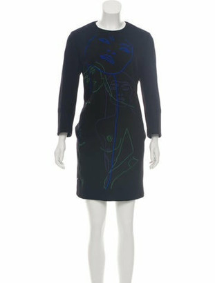 Stella McCartney Wool Patterned Dress Black