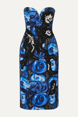 Prada Strapless Crystal-embellished Floral-print Cotton Dress - Blue