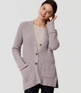 LOFT Ribbed Side Slit Cardigan