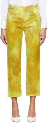 MSGM Yellow Tie-Dye Jeans