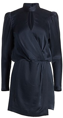 Frame Puff-Sleeve Silk Wrap Dress