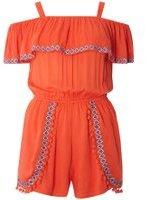 Dorothy Perkins Womens Orange Embroidered Cold Shoulder Playsuit- Orange