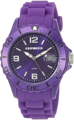 Cepheus Men's Quartz Watch with Purple Dial Analogue Display and Purple Silicone Strap CP603-090A-1