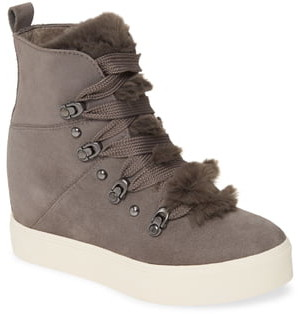 J/Slides Whitney Faux Fur Trim High Top Sneaker