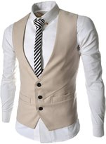 Spinty Me's Solid Collarless Color 3 Button Slim Vest
