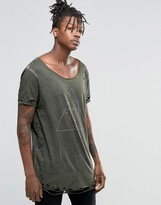 Asos Super Longline T-Shirt With Print And Heavy Distressing In Green