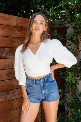 Nasty Gal Womens Summer Nights Linen Puff Sleeve Cropped Blouse - White
