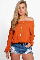 Boohoo Plus Emma Woven Crinkle Off The Shoulder Top