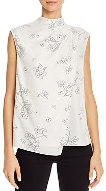 Rebecca Taylor Tailored Silhouette Sleeveless Floral Print Top