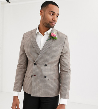 Asos Design DESIGN wedding Tall slim double breasted check blazer in camel-Beige