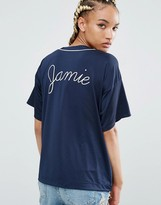 Pull&Bear Slogan Back Satin Top
