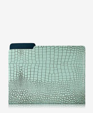 GiGi New York Carlo File Folder, Mint Crocodile Embossed Leather