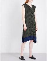 Issey Miyake Colourblock pleated midi dress