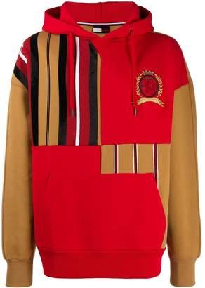 Tommy Hilfiger Crest striped patchwork hoodie