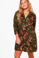 boohoo Plus Eleanor Floral Oriental Printed Shirt Dress khaki