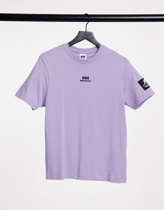 Helly Hansen YU twin logo t-shirt in lilac