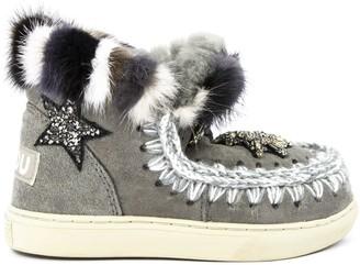 Mou Eskimo Sneaker In Grey Sheepskin