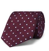 Dunhill 8cm Polka-dot Mulberry Silk Tie - Burgundy