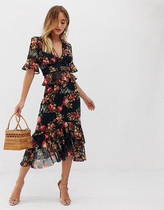 Hope & Ivy plunge front contrast print ruffle midi skirt in navy floral-Multi