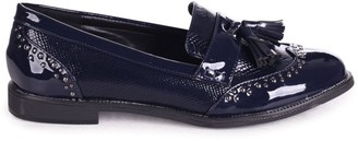 Linzi JOANIE - Navy Patent & Lizard Slip On Loafer With Tassel and Studded Detail