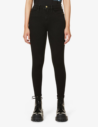 Frame Ladies Black Cotton Le High Skinny High-Rise Cropped Jeans, Size: 23
