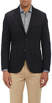 Barneys New York MEN'S PUCKERED HOPSACK THREE-BUTTON SPORTCOAT-BLACK SIZE 48
