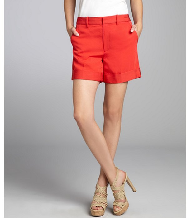 Marc by Marc Jacobs convertible red 'Clark' twill hi-rise shorts