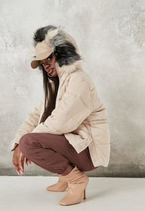 Missguided Taupe Faux Fur Hooded Puffer Coat