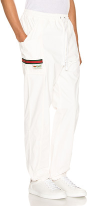 Gucci Cotton Canvas Pant With Label in White & Multi | FWRD