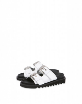 Moschino Sandals With Buckles Woman Black Size 35 It - (5 Us)