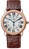 Cartier Ronde de Solo 18K Rose Gold & Brown Alligator-Strap Watch