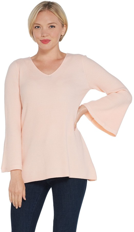 H By H by Ribbed V-Neck Bell Sleeve Pullover Sweater