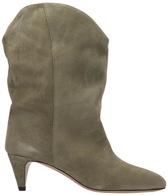 Isabel Marant Dernee Low Heels Ankle Boots In Taupe Suede