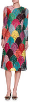 Dolce & Gabbana Long-Sleeve Patchwork Corded Lace Dress, Multicolor