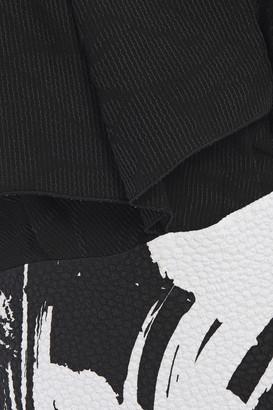 Roland Mouret Paneled Printed Crepe And Floral-jacquard Maxi Dress