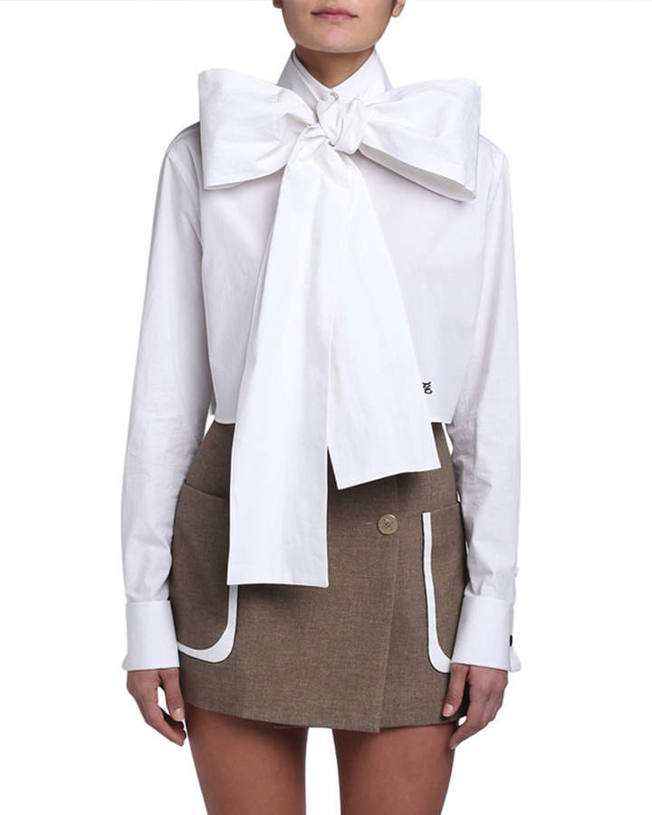 Fendi Cotton Taffeta Cropped Bow-Neck Shirt