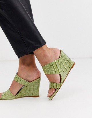 Topshop leather square toed wedge heels in green